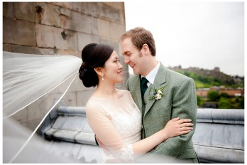 Bride & Groom on Roof of Balmoral Hotel Edinburgh